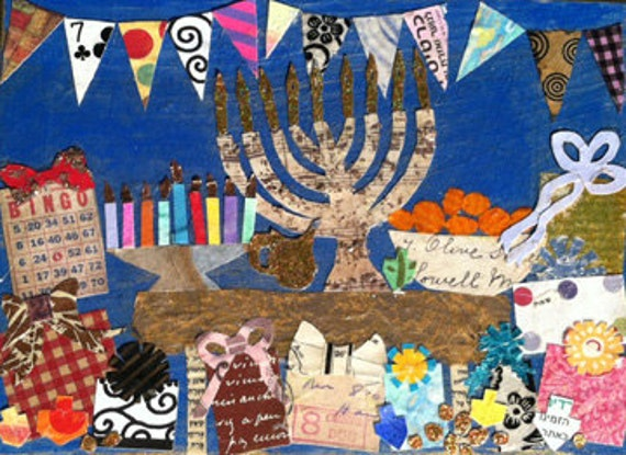 Chanukah Party Judaica Mixed Media Collage