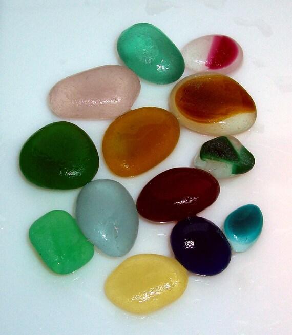 13 Rainbow Sea Glass Shards - Seaham Beach Glass Multis - Beach Glass Supplies (967)