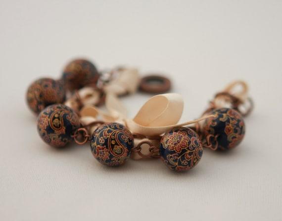 Dark Blue Beads and Ivory Ribbon Bracelet