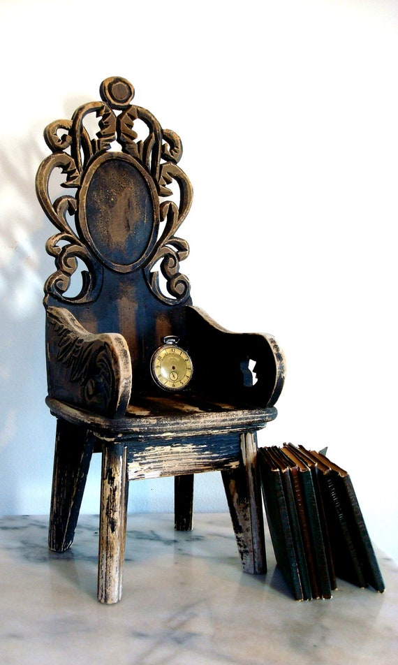 Reserved for Sue  Vintage Handmade Baroque Style Miniature Arm Chair