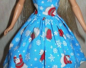 Handmade Barbie doll dress - blue dress with polar bears and snowflakes