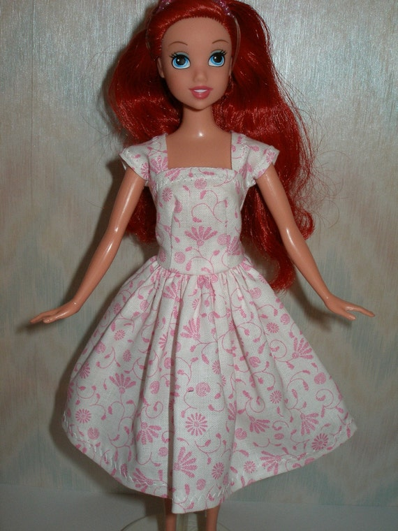Handmade Barbie clothes - white and pink cotton dress