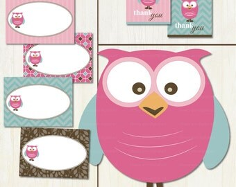 Baby Shower, It's a Girl Mod Owl, Baby Shower Printable Party Set DIY, Owl Baby Set