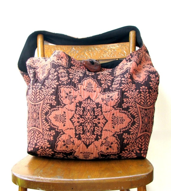 CROSSBODY BAG Hobo Bag Diaper Bag Bohemian Bag Cross Body Bag Orange Purse Damask Bag Vegan Bag Crossbody Hobo Bag