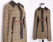 Cape Jacket / Vintage Pendelton Cape / Pendelton / Plaid / Wool  / Leather / Fall Fashion  / Autumn / Tartan / Jacket / Coat / 1309