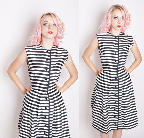 Black and White Vintage Wiggle Dress / Cotton Dress / Mad Men / Dress / Dresses /  1239