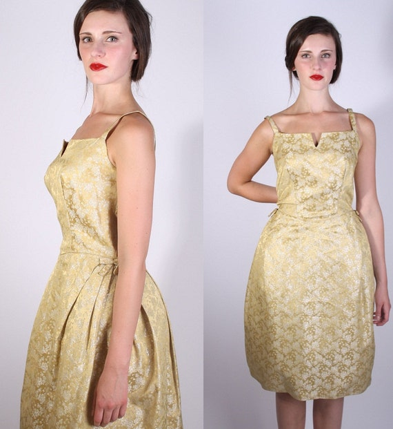 Vintage 1950s Mad Men Fashion Cocktail Dress / Vintage Dress / Dress / Dresses / Gold Cocktail Dress / Short Dress / 1246