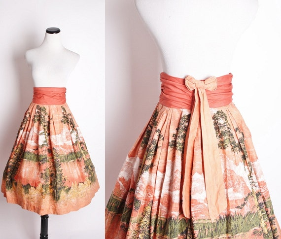 Vintage 1950s Novelty Forest Print Woodland Coral Circle Skirt / Skirt / Skirts / Vintage Skirt / Landscape / Bow / 1342