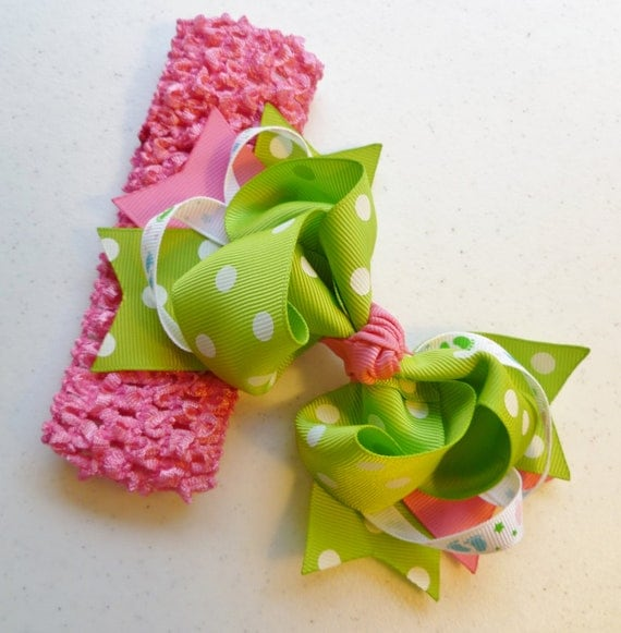 Large Beautiful Boutique Hairbow and Crocheted Headband in Lime Green and Pink with Polka Dots
