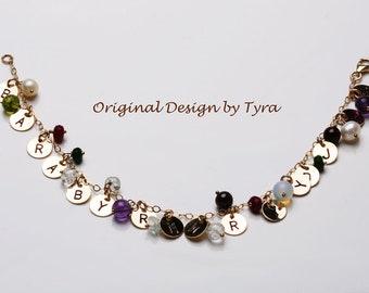 Grandma jewelry,Personalized initial stone bracelet,Multiple initial disc/brithstone 14k gold bracelet for Super Grandma,Grandmother gift