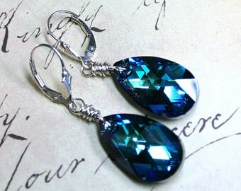 Swarovski Crystal Teardrop Earrings in Bermuda Blue - Aqua And Sapphire Blue - Swarovski Crystal and Sterling Silver Leverbacks