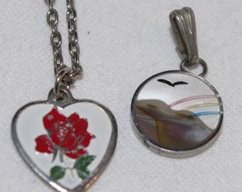 Vintage - Pair miniature pendants charms  - enamel and mother of pearl - 1960s