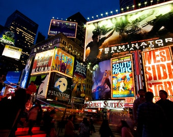 Times Square At Night Broadway Theater New York Home Decor Colorful Office Decor