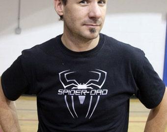 Personalized Steel Spider Superhero Dad Shirt - Short Sleeve Center
