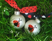 Ladybug Ornaments - TWO Hand Painted Ornaments for Birthday or Christmas, Ladybug Nursery, Ladybug Birthday Bauble, Party Favor