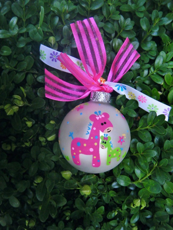 Big Sister Little Sister Giraffe Ornament - Personalized Brother Sister Hand painted Ornament - New Baby Gift, Giraffe Nursery, Baby Shower