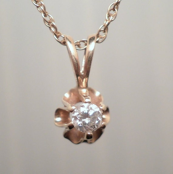 Reserved for TLM -- Vintage 1980s 14Kt Gold and Diamond Solitaire Buttercup Pendant on 14 KYG Chain