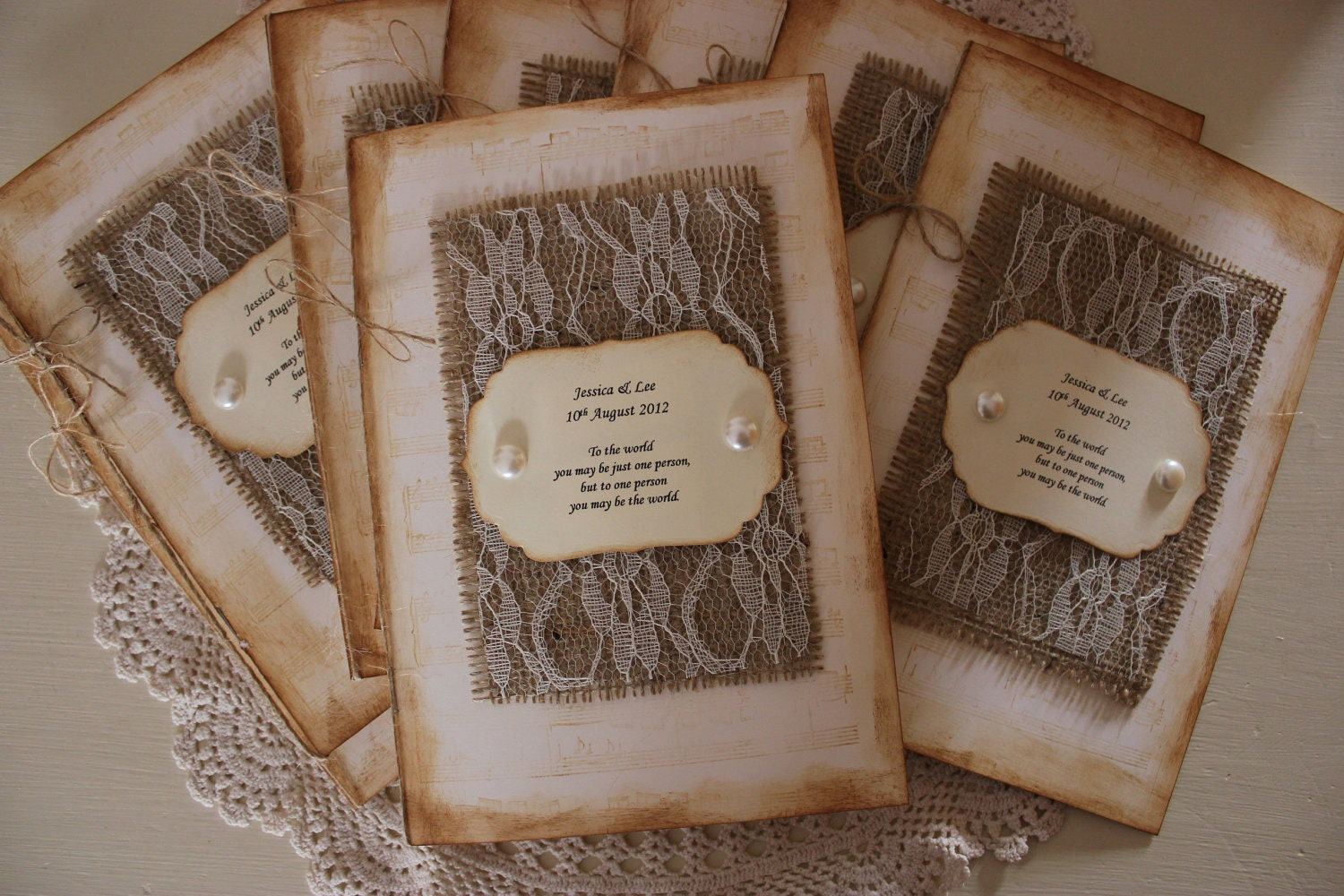 Burlap and lace wedding programs order of service