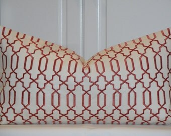Decorative Pillow Cover - Embroidery - Clay and Ivory - Sofa Pillow - Trellis Pillow - Lattice - Geometric