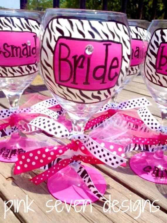 zebra print BRIDE wine glass
