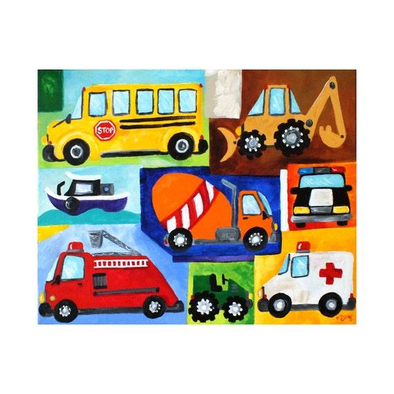 Wall Art for Boys Room, Transportation collage, VROOM No.17, 20x16 Baby Boy Nursery Decor