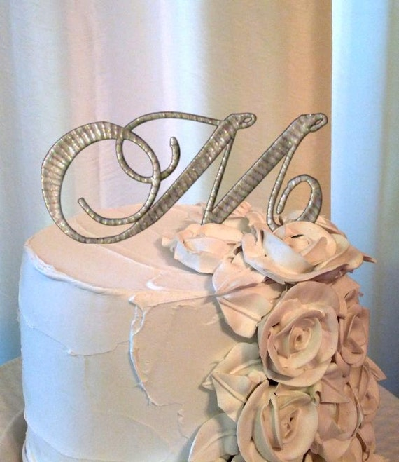 Items Similar To The Letter M Wedding Cake Topper Style 10 In Gold On Etsy