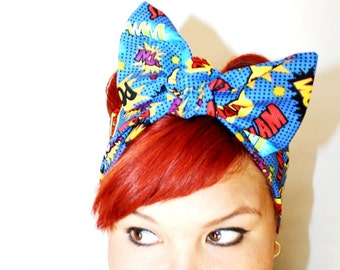 Vintage Inspired Head Scarf, Comic book, SLAM POW ZAP