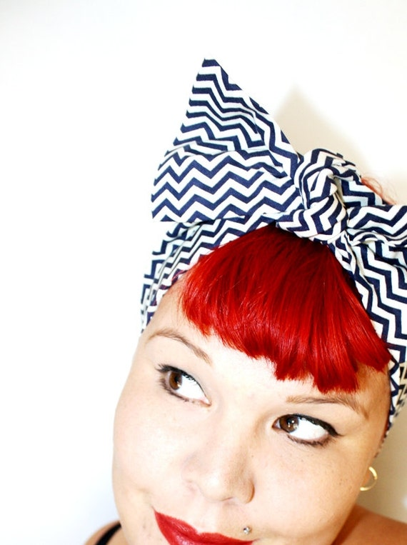 Bow style, Vintage Inspired Head Scarf, Chevron Strips, Pin up, Rockabilly, Retro