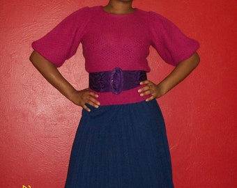 Late 1970s Navy Blue Pleated Skirt