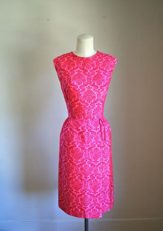 vintage 60s sheath dress - DANMASK pattern fuchsia dress / S