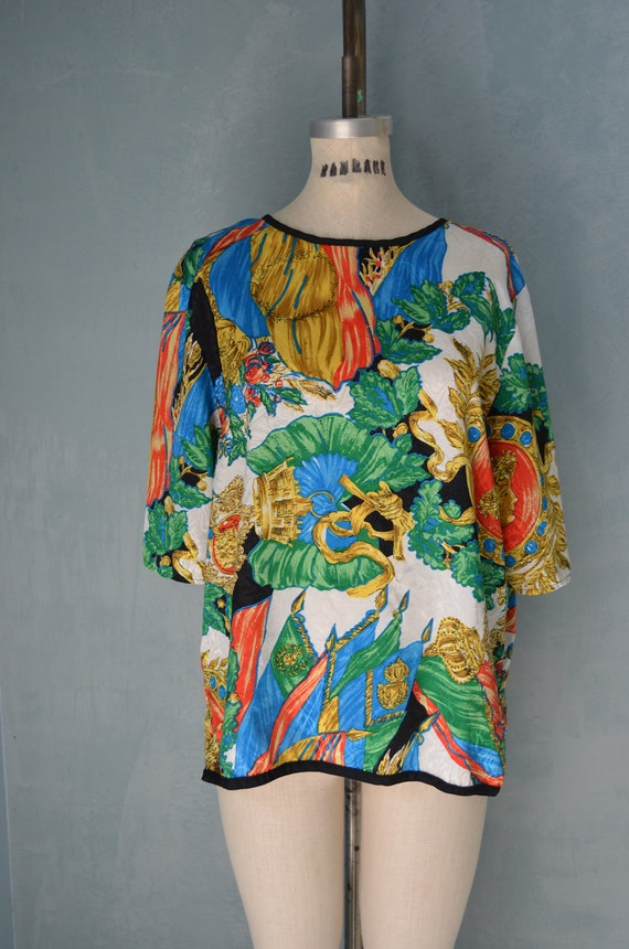 Free Shipping 80s Roman Royal Dynasty Bold Colorful Versace Like Print Top L