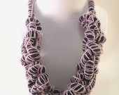 Chunky Wool Necklace - Hand Knitted in Purple