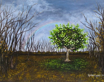 Small Fantasy Landscape Painting, original symbolic art with rainbow, tree and dark storm clouds, 5x7 acrylic painting