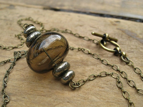 Glass Bubble Necklace, smoky topaz glass bubble necklace on brass chain with pyrite
