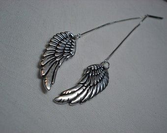 Angel Wing Ear Threads-Threader Earrings-Necklace-FREE SHIPPING To U.S.-