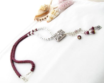Burgundy Pearl Necklace and Earring Set