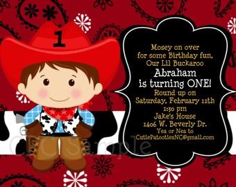 Cowboy Birthday Invitation - 1st Birthday Cowboy Party Invitations - Printable or Printed Cowboy Birthday Invite