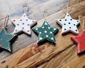 hand painted christmas ornament star ornament rustic christmas ornament