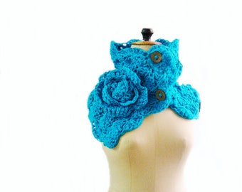 Button Up Cowl, Crocheted Scarf, Blue Neck Warmer