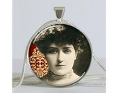 Lillian Russell Edwardian Actress Silver Necklace with Chain Altered Art Pendant Resin Pendant Photo Pendant Picture Pendant Art Pendant