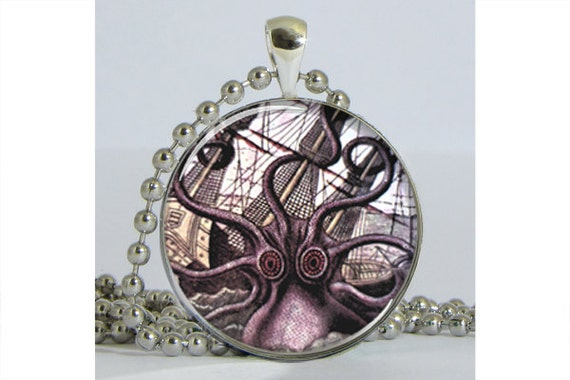 Kraken Attacking French Ship Silver Plated Necklace with Chain Resin Pendant Picture Pendant Art Pendant Photo Pendant