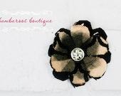 black hair clip, flower clip