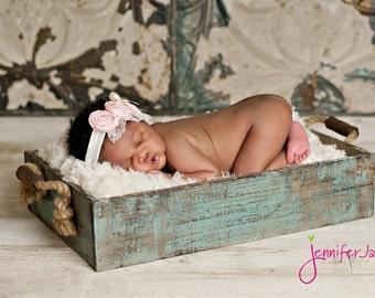 Ivory baby headband, pink newborn headband