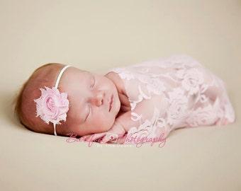 shabby chic baby headband, pink baby headband, pink newborn headband