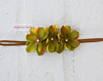 Newborn Headband, Baby Headband, burgundy, gold, green