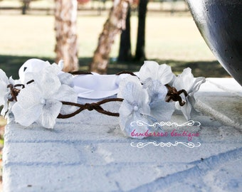 Floral Hair Wreath, silver flower wreath, flower girl hair wreath, bridal hair wreath