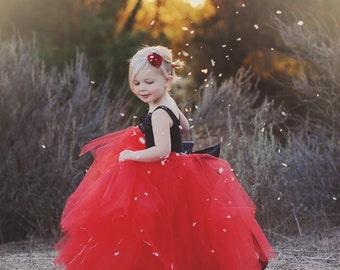 flower girl dress red, red and black flower girl dress, long tutu, long tulle skirt, black and red tutu dress, red
