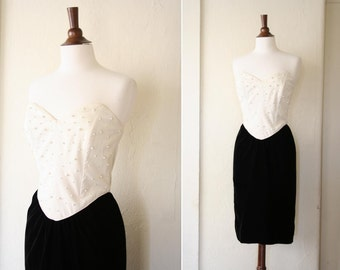 vintage sweetheart velvet wiggle dress sz S or M