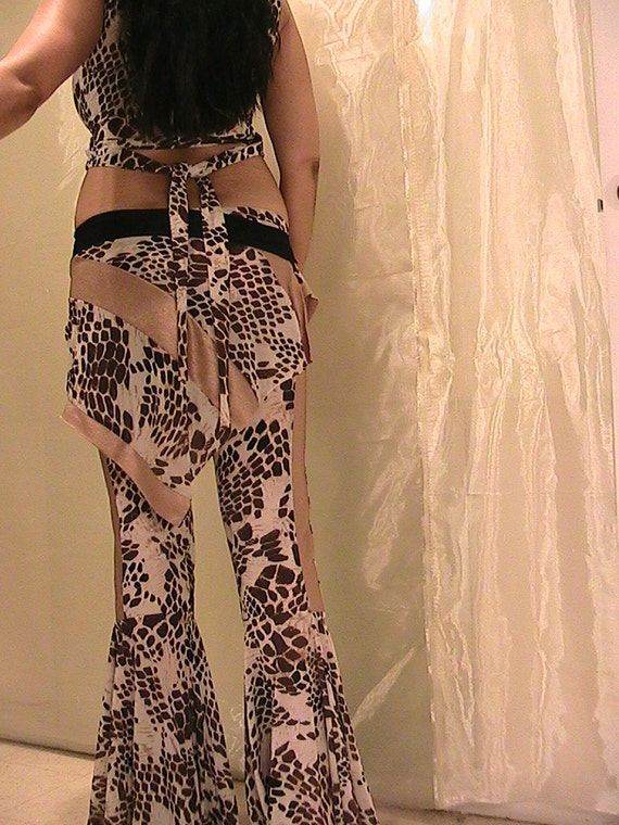 Tribal ATS bellydance and Festival flare pants, Skirt and Top in gold and animal print  Lycra- SM-MED