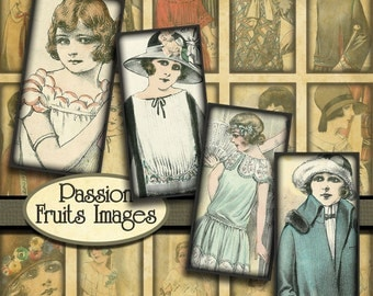 French Fashion of the 1920's digital collage sheet- Bamboo tile images-- Instant Download